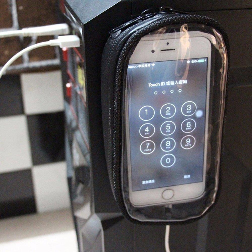 S KKmoon Sacchetto di navigazione del telefono del motociclo Borse moto impermeabili per cellulare touch screen Borse serbatoio moto Nero