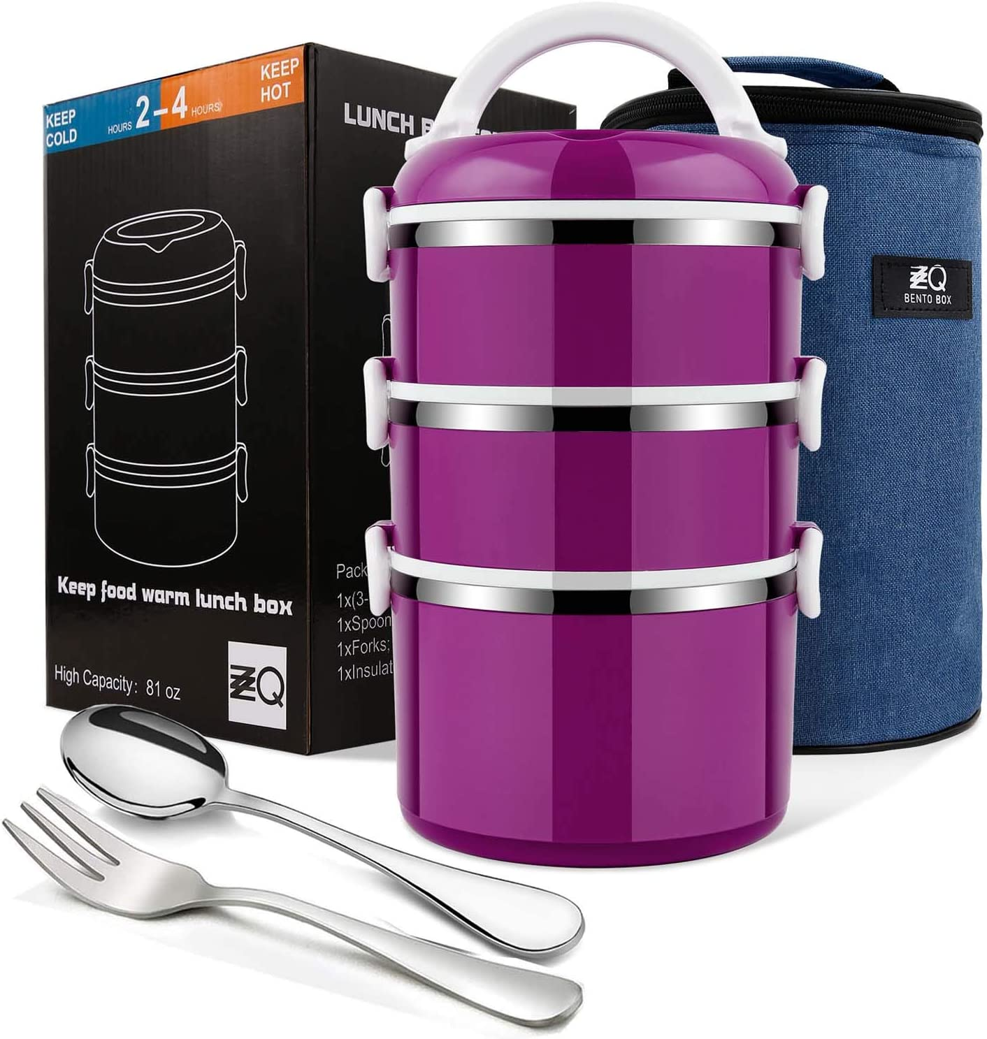 ZZQ Bento Lunch Box Stackable Stainless Steel Thermal Compartment Lunch Container/Snack Box, Leakproof Insulated Bento/Food Container Storage with Lunch Bag & Spoon Fork, 3-Tier (Purple)