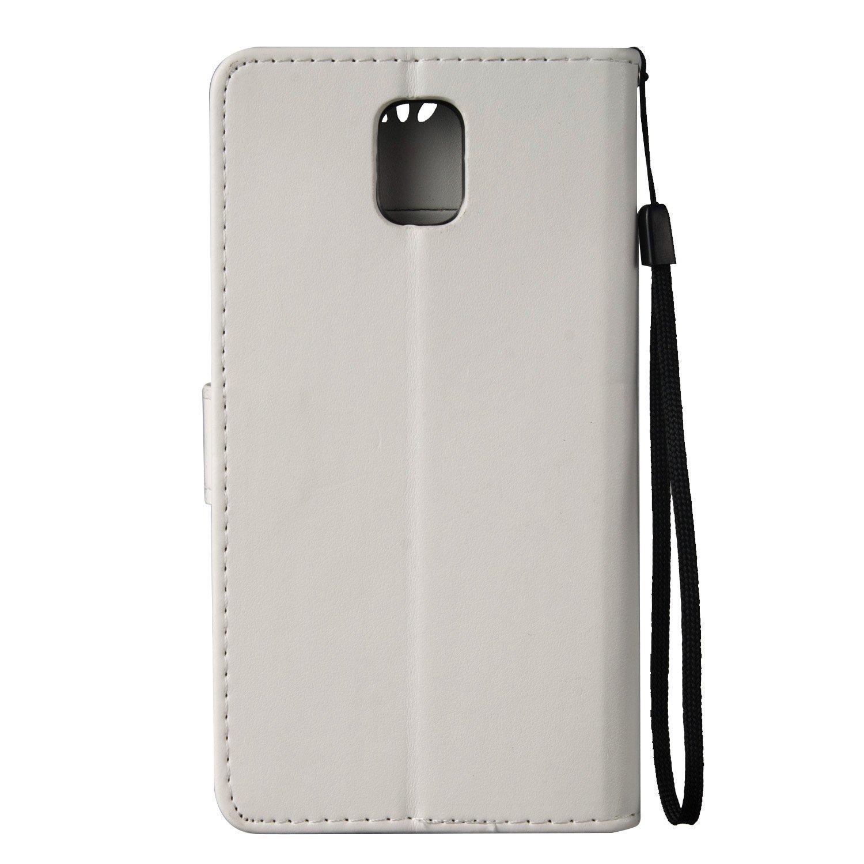 Fiori: Grigio ISAKEN Compatibile con Samsung Galaxy Note 3 Cover Supporto Stand e Porta Carte Integrati Portafoglio Flip Custodia di Pelle Case Flip Stile Libro Cover Custodia in Pelle PU
