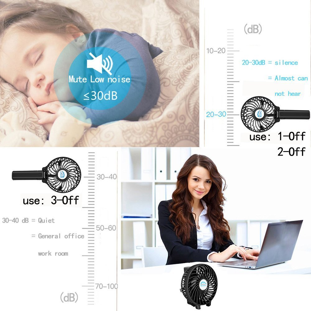 Mini Fan Battery Operated, Kingcenton Handheld Portable Foldable 4 Inch Fan with Clip for Stroller - 2000mAh Rechargeable Battery, 3 Speeds Adjustable for Home, Office and Travel (Black) by Kingcenton (Image #7)