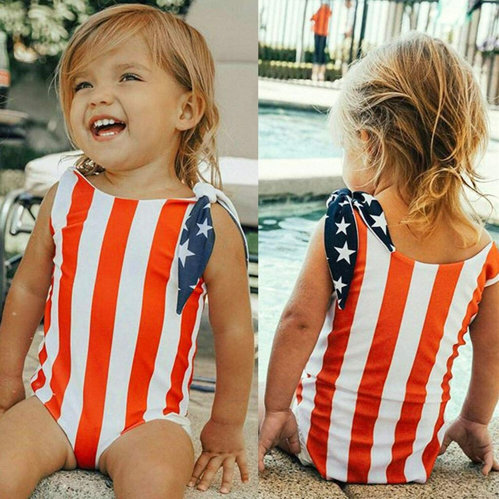 YOMXL Newborn Infant Baby Girls 4th July Star Striped Swimsuit One Piece Side Tie Knot Swimwear Romper Bikini