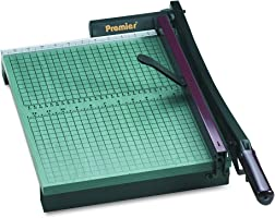 "Premier 715 StackCut Heavy-Duty Trimmer, Green, Table Size 12-1/2"" x 15"", Permanent 1/2"" Grid and Dual English and..."