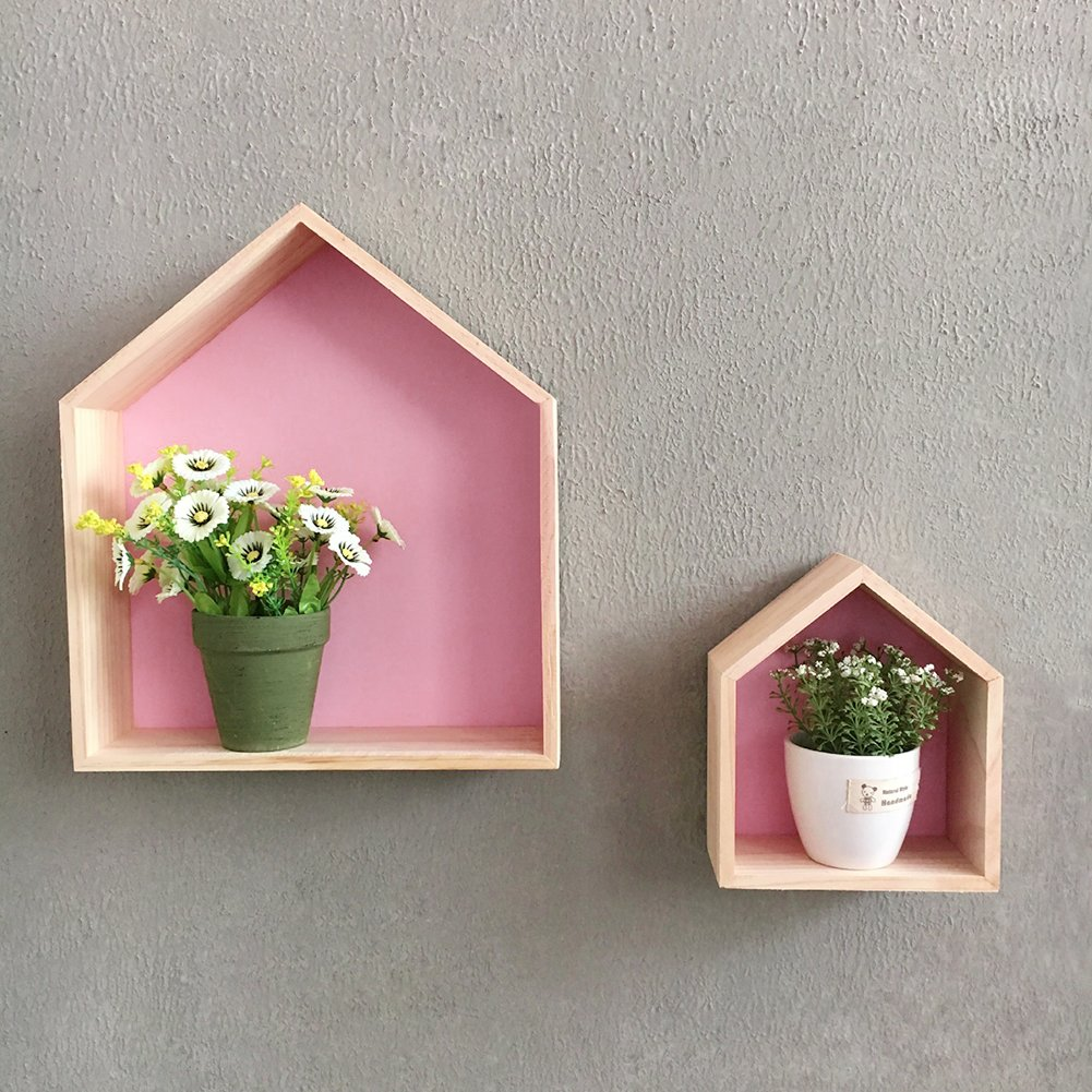 Pueri House Shape Wooden Wall Storage Shelf Display Hanging Shelving Children's Room Decoration (Pink)