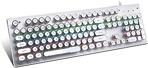 USB LED Backlit Retro Typewriter Mechanical Keyboard -Blue Switch - Round Keycaps -104 Keys Vintage Inspired Steampunk Gaming Keyboard–Mechanical Gaming Keyboard for PC/Mac/Gamer/Typ (White)