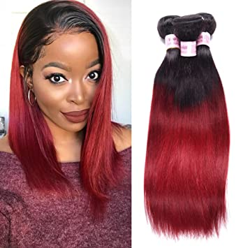 dcbdfaf79 Amazon.com   Top Hair Brazilian Ombre Burgundy Hair Extensions Black ...