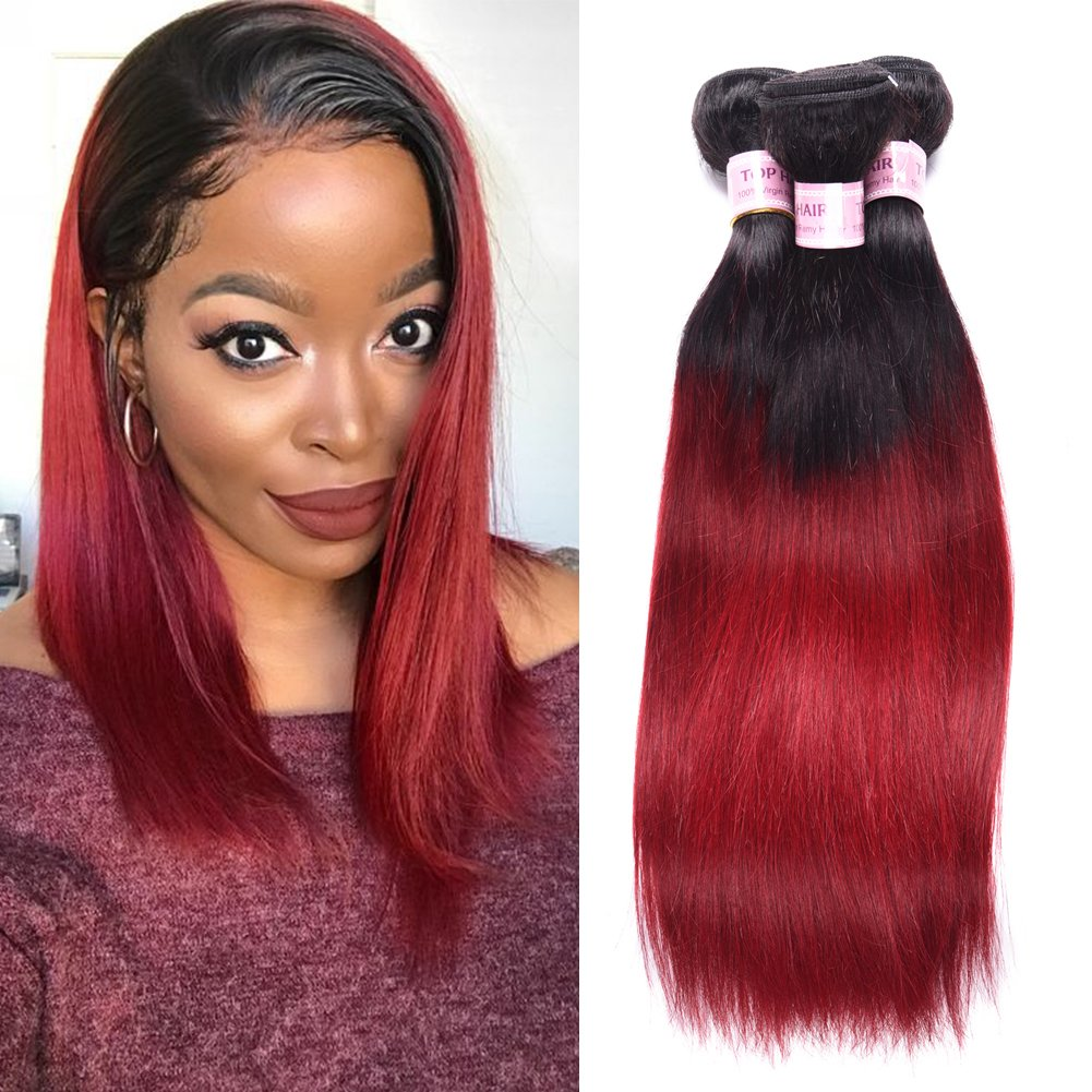Amazon Top Hair Brazilian Ombre Burgundy Hair Extensions Black