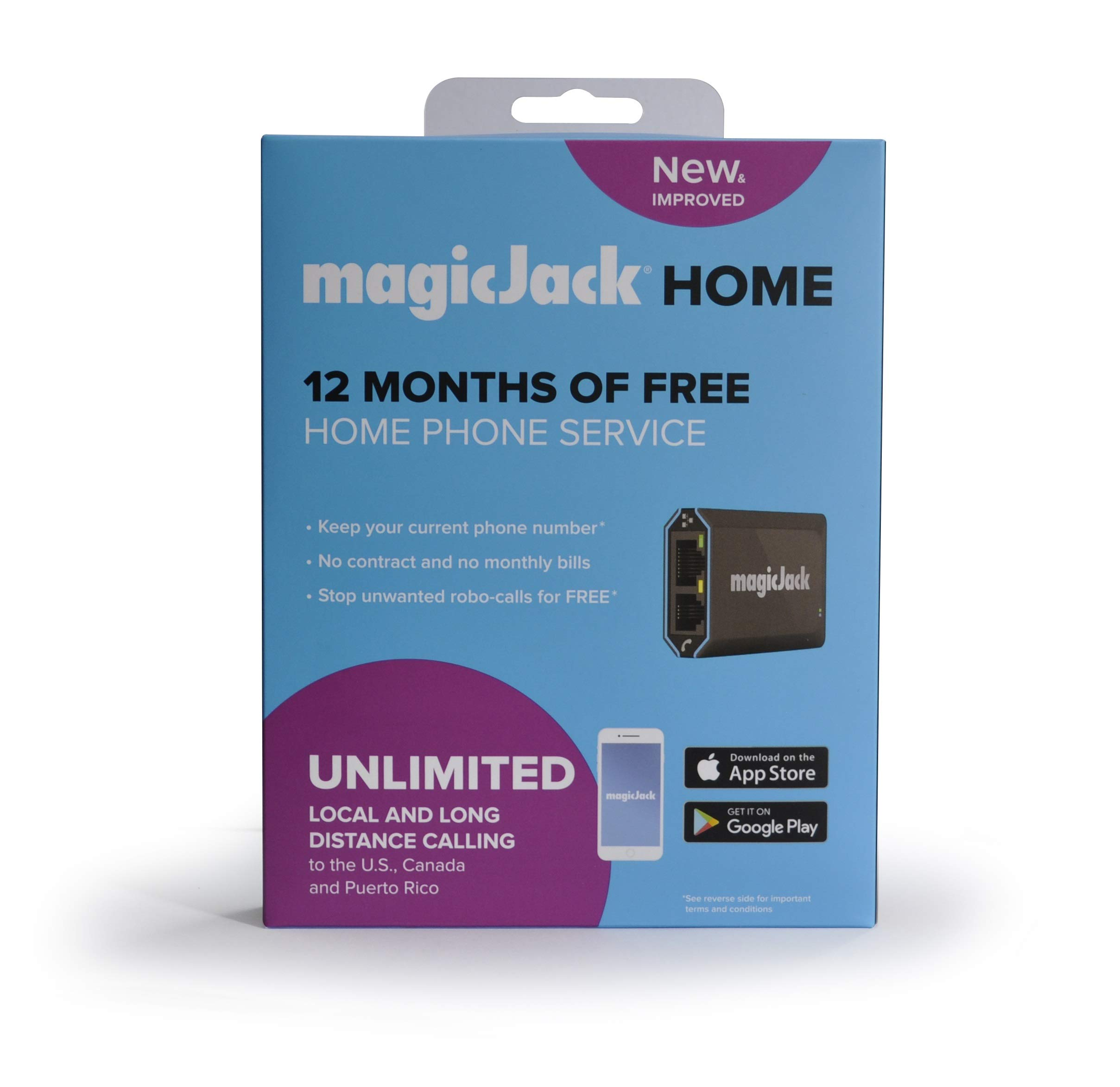 magicJackHome 2019 VOIP Phone Adapter Portable Home and On-The-Go Digital Phone Service. Make Unlimited Local & Long Distance Calls to The U. S. and Canada. NO Monthly Bill (2019) 1-Pack