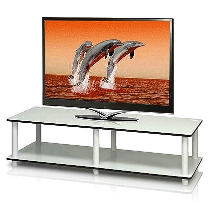 Amazon Com 40 Inch Tv Stand Low Wood Decorative Floor Stand Storage
