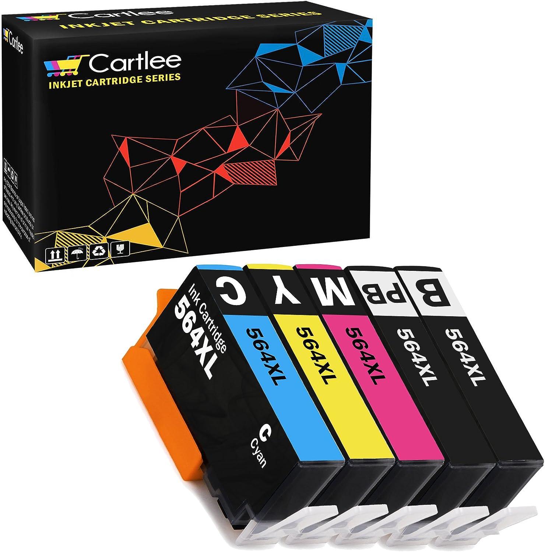 Cartlee Set of 5 Remanufactured 564XL High Yield Ink Cartridges for HP Photosmart 5510 5520 6510 6520 6525 7510 7520 7525 B8550 C6380 D7560 Premium C309A C410 Officejet 4620 Deskjet 3520