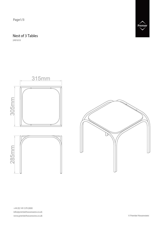 39 x 46 x 30 cm Premier Housewares Set di 3 tavolini con base nera e gambe cromate
