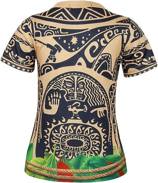 Jurebecia 2 Pz Moana Maui Ragazzi Pigiama Sleep Well Pjs Bambini Sleepwear Manica Corta Maui Tattoo Pigiama Top con Pantaloncini Set
