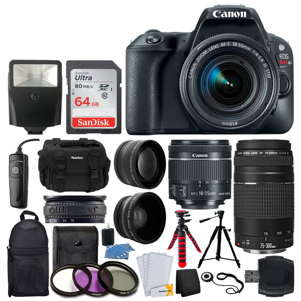 Canon EOS Rebel SL2 DSLR Camera + EF-S 18-55mm IS STM + EF 75-300mm III + 64GB Memory Card + Wide Angle & Telephoto + RS-60 Remote Switch + Slave Flash + Quality Tripod + Case & Backpack - Full Bundle by Canon