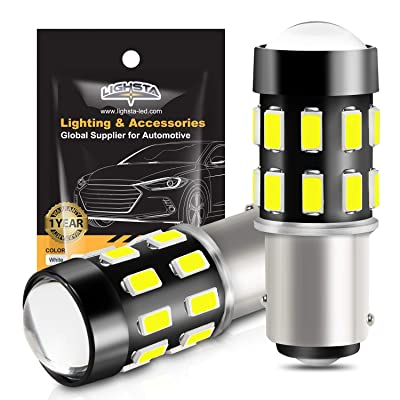1157 LED Bulbs, LIGHSTA 1200 Lumens Super Bright 5630 Chipestes 2057 2357 7528 1157A BAY15D LED Bulbs with Projector for Backup Reverse Lights Tail Brake DRL Parking Lights, Xenon White(Pack of 2): Automotive