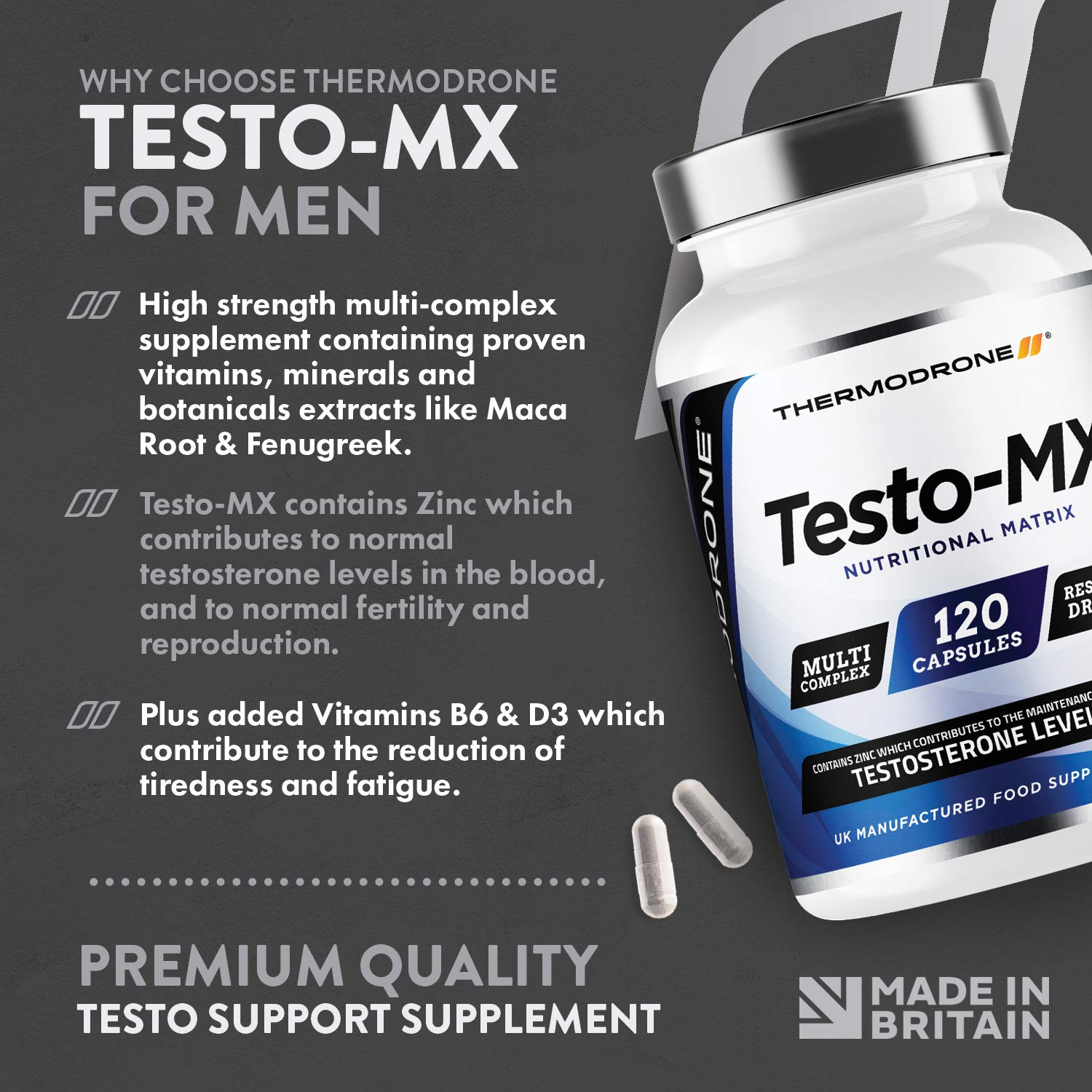 Test Boosters for Men | 120 Capsules Testosterone Support Supplement |  Contributes to Normal Testosterone Levels & Reduction in Fatigue | Zinc