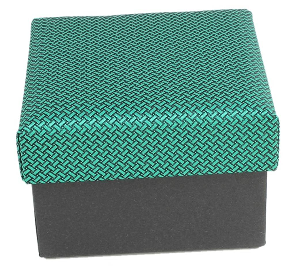 Knightsbridge Neckwear Mens Geometric Design Tie and Cufflinks Set Green