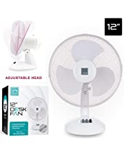 "Nyxi 12"" Desk Fan Pedestal Oscillating Stand Desk Electric Tower Standing Clip (12″ Desk Fan)"