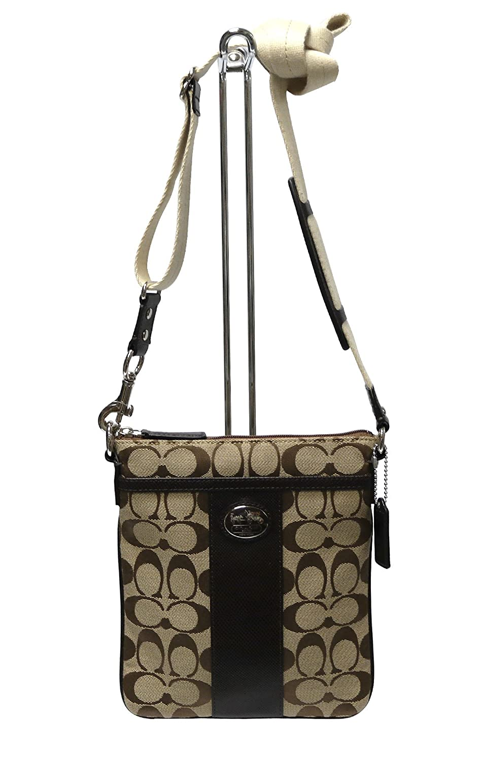 e8c085eeb904 ... brown messenger bag a8f0e 0c457  czech coach sutton signature swingpack  in textured leather jacquard in silver khaki mahogany 43976 handbags amazon