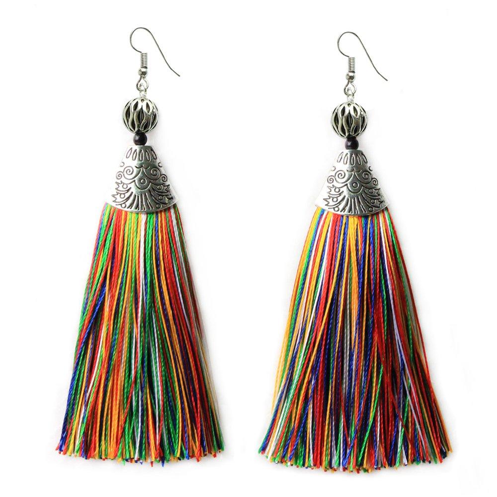 Multicolor Long Tassel Earrings Mina Draping Extra Long Earrings Fashion Jewelry