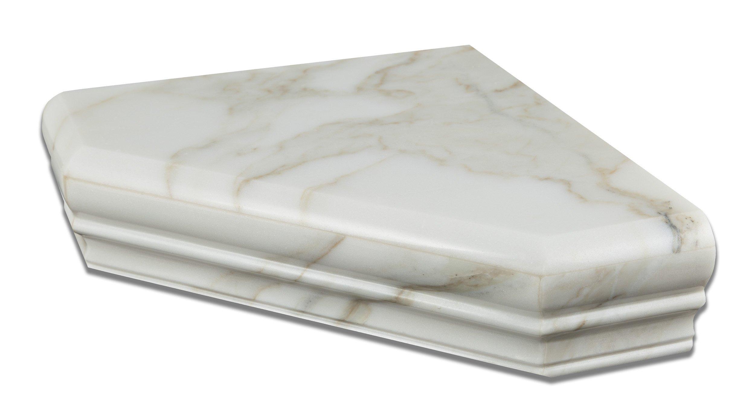 Calacatta Gold (Italian Calcutta) Marble Hand-Made Custom Shower Corner Shelf, Polished