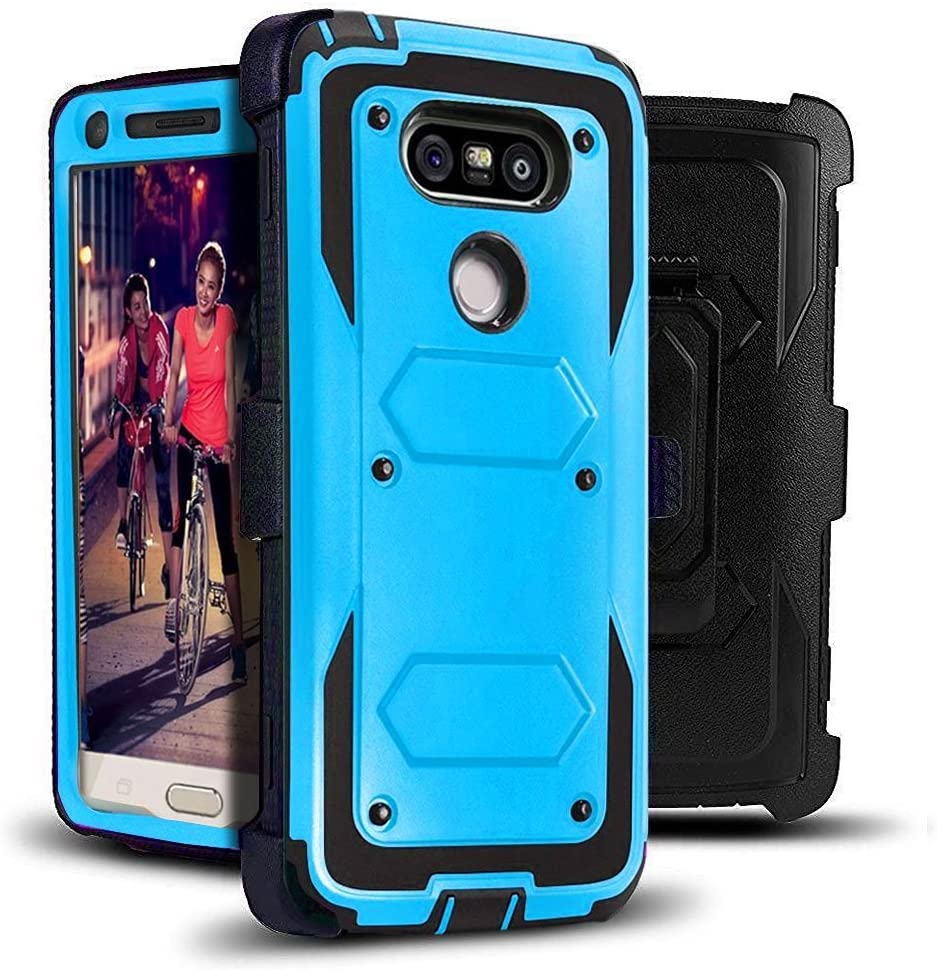 J.west LG G5 Case, Full-Body Rugged Combo Holster G5 Case + Belt Swivel Clip Shock Absorption TPU Scratch Resist Bumper Protective Cover Without Built-in Screen Protector for LG G5 2016 (Blue)