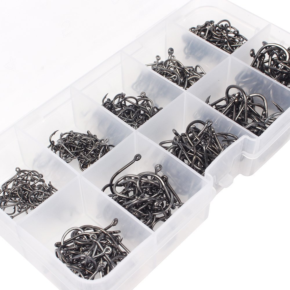 Goture Fishing Hooks Saltwater Set Kit With Fishing Tackle Box Fish Jig Heads (Fish Hook 500pcs)