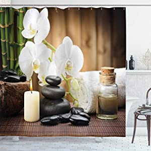 Ambesonne Spa Shower Curtain, Spa Style Arrangement with Stones Candle Flowers and Bamboo Art, Cloth Fabric Bathroom Decor Set with Hooks, 84