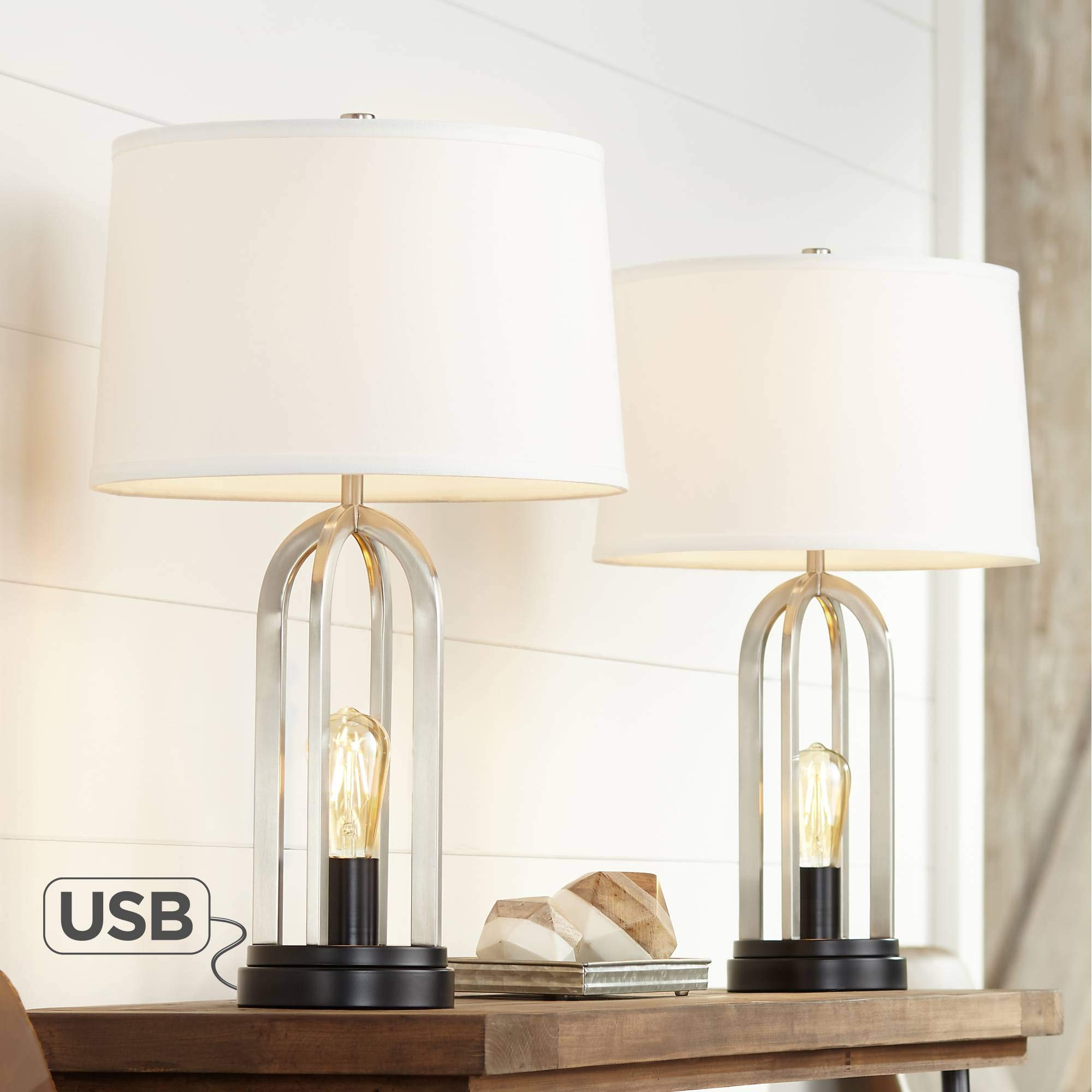 Marcel Brushed Nickel Night Light USB Table Lamps Set of 2-360 Lighting