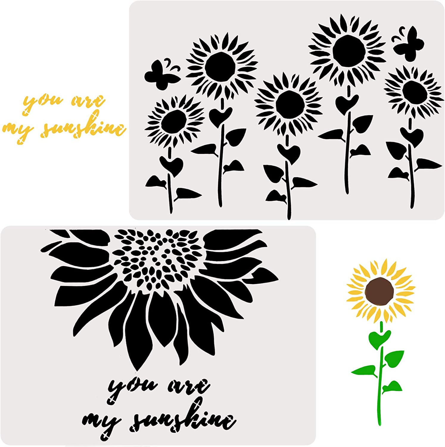 2 Pieces Sunflower Stencils Reusable Stenciling Templates You are My Sunshine Stencil Plastic Inspirational Word Stencils Joyful Sunflower Template for Painting on Wood Wall, 11.42 x 8.26 Inch