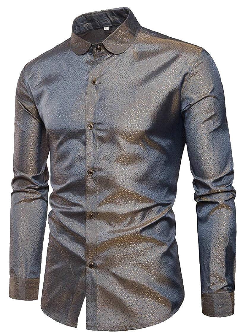 Sweatwater Men Curved Hem Metallic Club Lapel Neck Basic Button Down Shirts