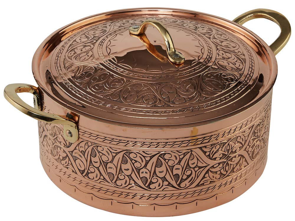 DEMMEX 2019 Handmade Engraved Copper Soup Stew Pot Casserole Dish Pan with Lid (9.1''x4'')