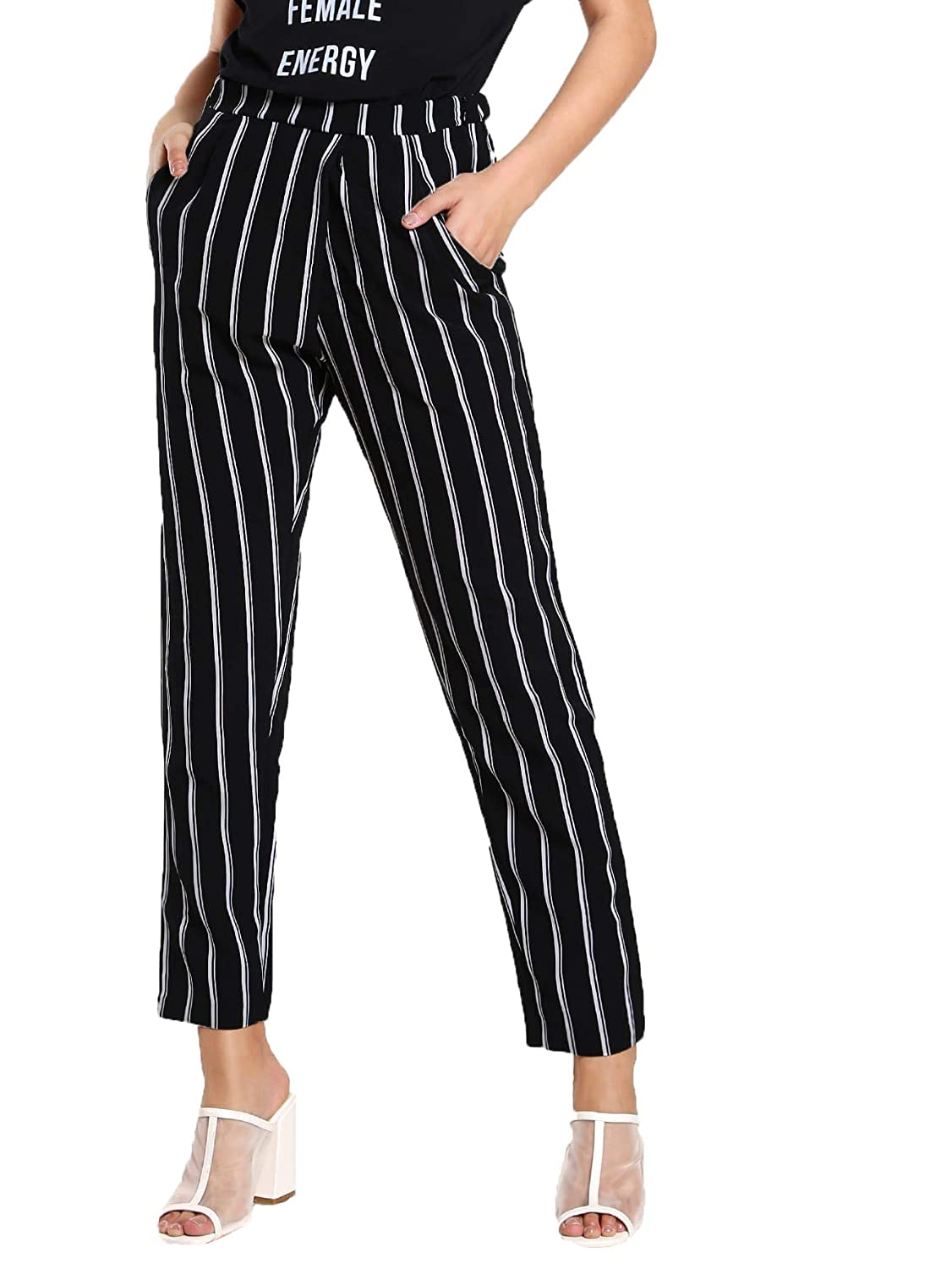 3 black White SweatyRocks Women's Elastic Belted High Waist Casual Loose Long Pants with Pocket