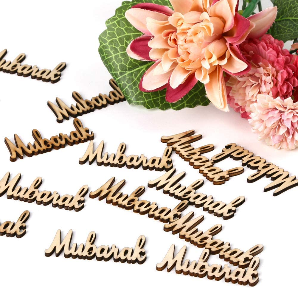 Walmeck 15pcs Wooden Eid Mubarak Ramadan Party Supplies Ornament DIY Plaque Pendant Festival Home Decoration