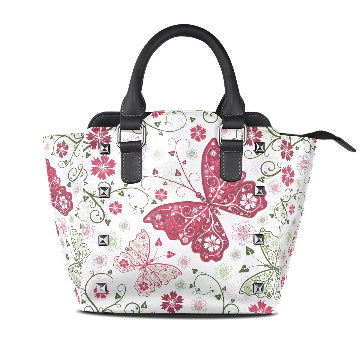 Womens Genuine Leather Hangbags Tote Bags Butterflies Purse Shoulder Bags