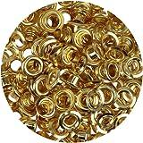 Großpackung Ösen & Scheiben 5 mm GOLD Inhalt 100 Stück (Auswahl) silber - gold - brüniert für Leder Planen Zelte Kleidung (gold) …