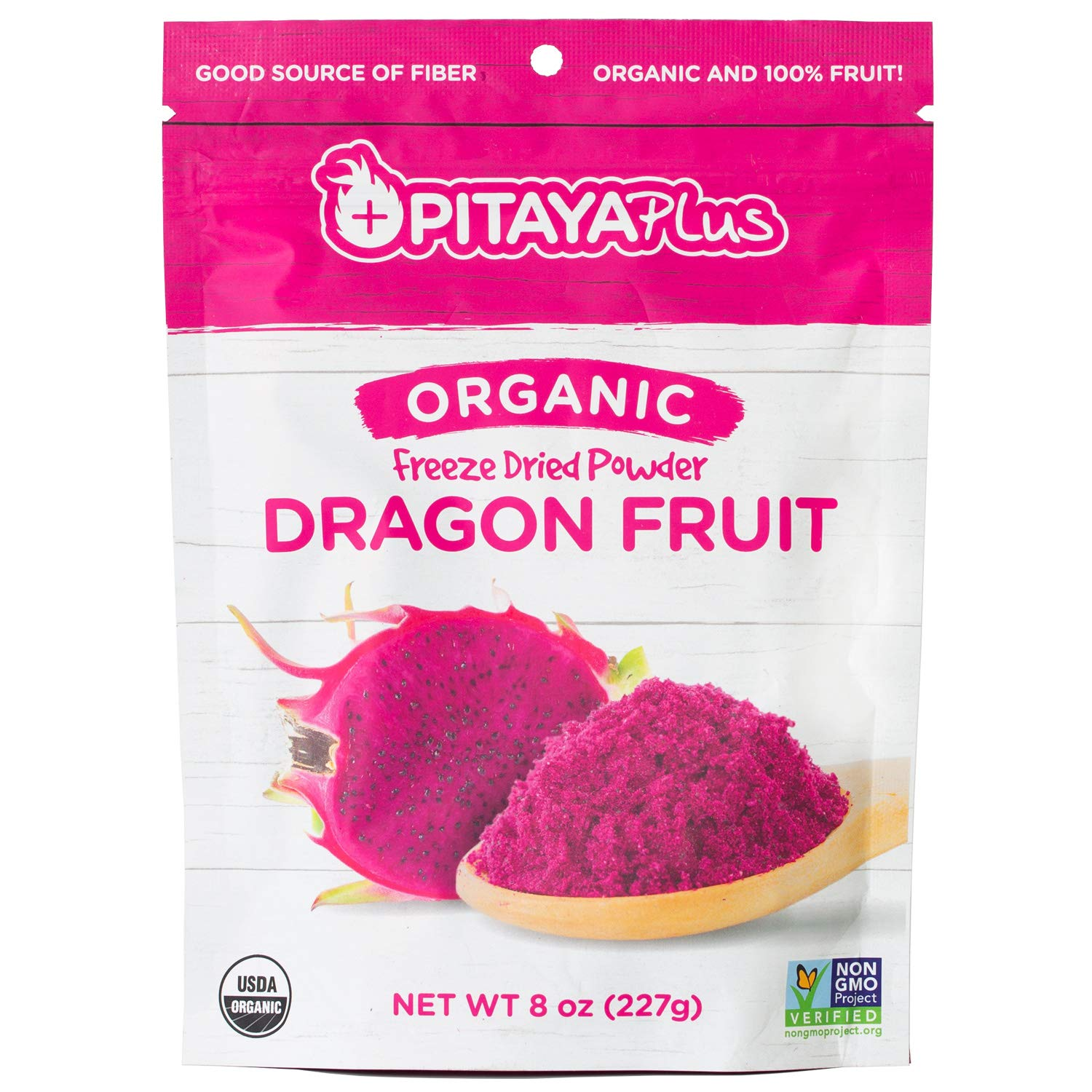 Pitaya Plus Freeze Dried Red Dragon Fruit Powder Organic. 8 Ounces of 100% Dragon Fruit for the Brightest Pink Rceipes. USDA and Oregon Tilth Organic, Non-GMO, Earth Kosher, Vegan Verified, B-Corp.
