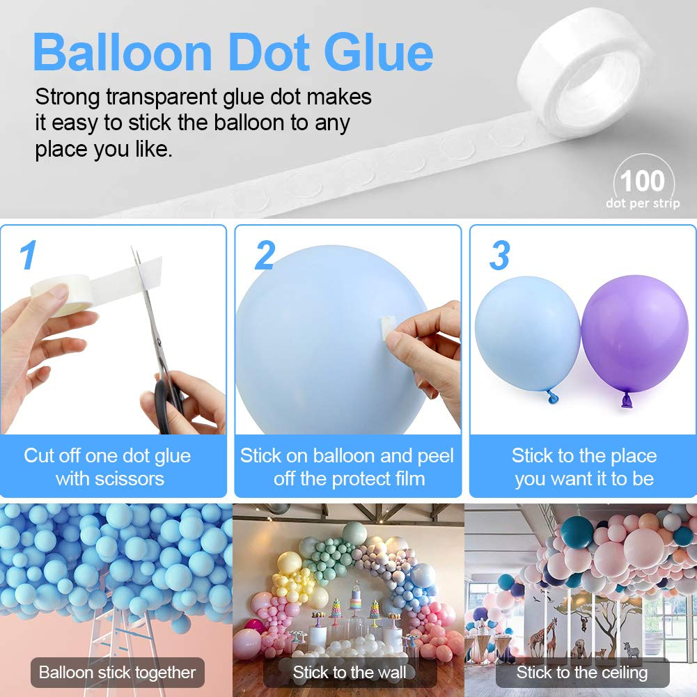 SENWOW Balloon Decorating Strip Kit for Arch Garland 32Ft Balloon Tape Strip, 2 Pcs Tying Tool, 200 Dot Glue, 20 Flower Clip for Party Wedding Birthday Xmas Baby Shower DIY