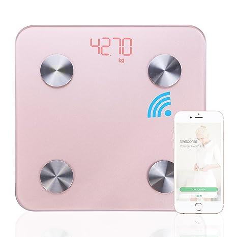 Stoga Smart cuerpo analizador báscula de baño digital analizador de grasa corporal, color rosa
