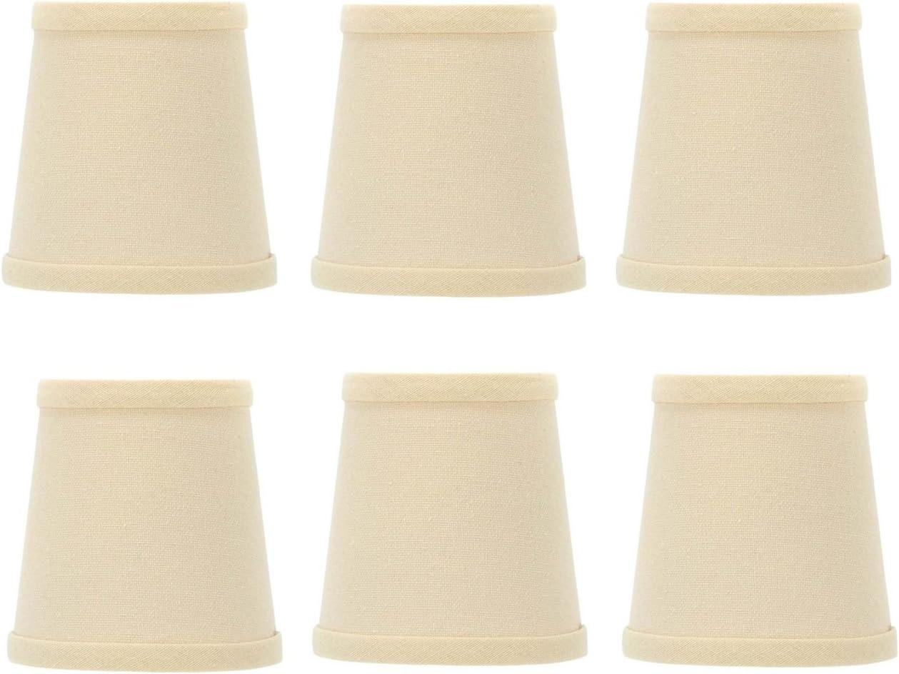 Upgradelights 4 Inch Beige Linen Barrel Drum Clip On Chandelier Shades Set of 6 3x4x4