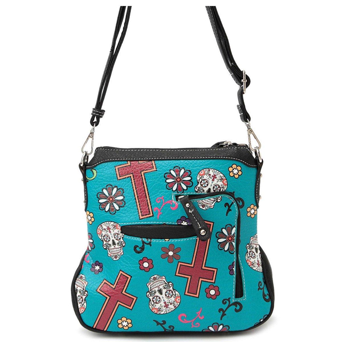 Western Sugar Skull Mini Handbag Girl Crossbody Purse Fashion Single Shoulder Bag Phone Purses (Turquoise) by WESTERN ORIGIN (Image #3)