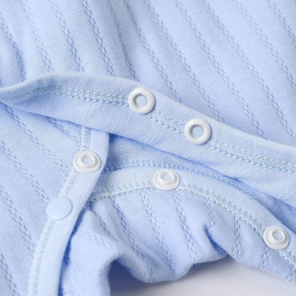 Cobbroo Grenouill/ère pour b/éb/é de 0 /à 6 mois avec moufles Motif nuage int/égral Pyjama pour b/éb/é avec chaussons int/égr/és et fermeture /à nouer,100 /% coton