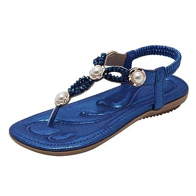 Dolamen Damen Mädchen Sandalen Sommer Schuhe Bohemia Flach Strand Zehentrenner Strass Perle Clip Toe Flip Flops T-Strap Thong Sandalen Schuhe (EU 37(Asien 39, Fußlänge:241-245mm), Gold)