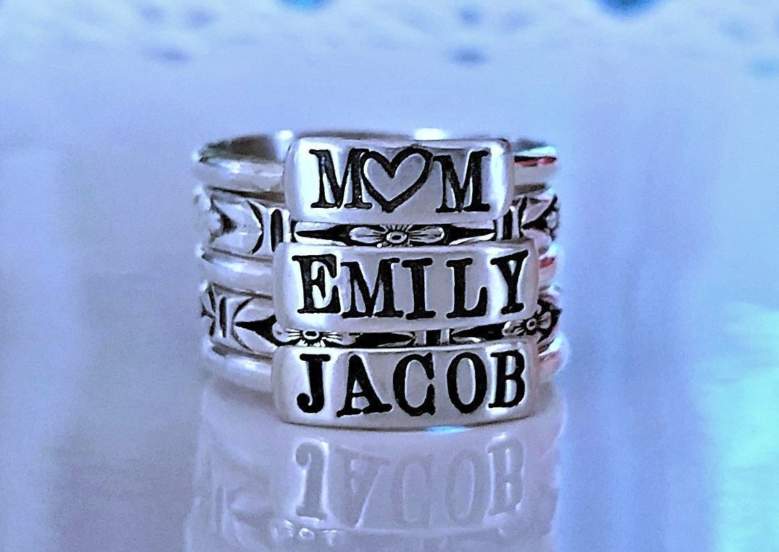 Personalized Sterling Silver Stacking Ring, Custom Name or Mother's Ring Stackable, Name Rings - 3 Name Set with 3 Fine Silver Floral Bands in Bold Chronicle Font