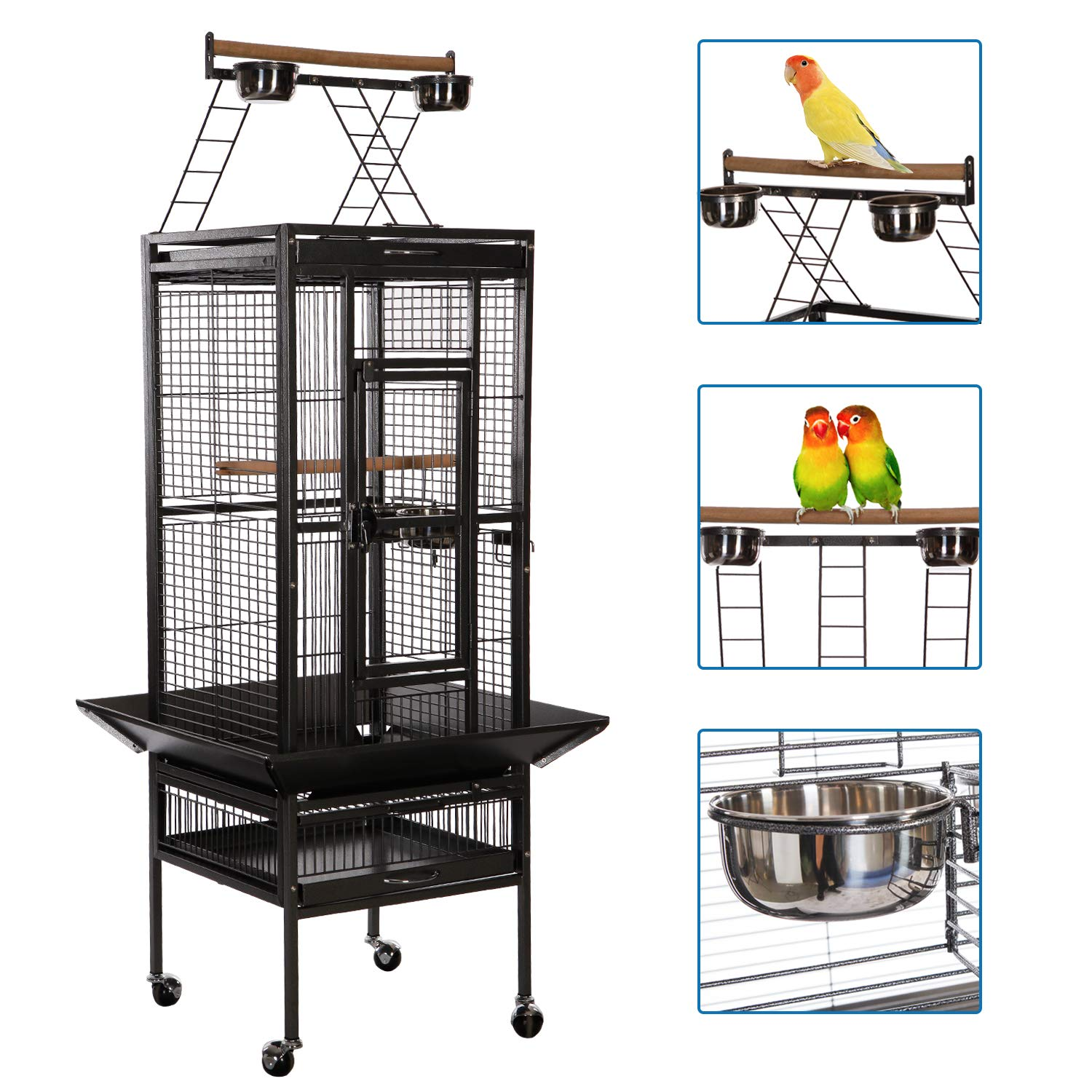 397770bc1603 VECELA Bird cage Wrought Iron Flight cage Parrot cage 53/61/68inch Large  Bird cage Rolling Trolley Metal Wheels - Wetland Tools