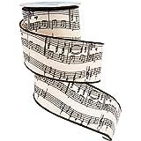 "Kurt Adler 2.5"" x10 Yards Musical Notes Wire Woven Ribbon"