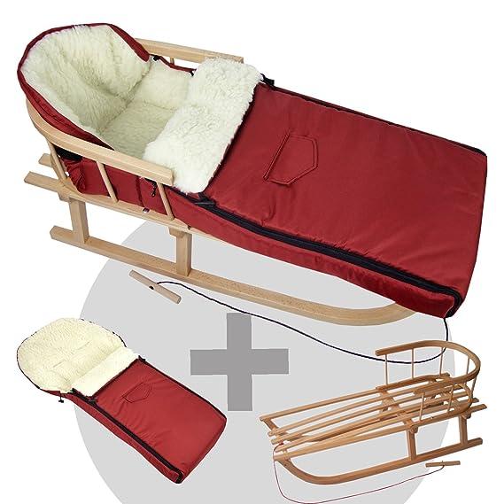 BAMBINIWELT Kombi-Angebot Holz-Schlitten mit Rückenlehne & Zugseil + universaler Winterfußsack (108cm), auch geeignet für Bab