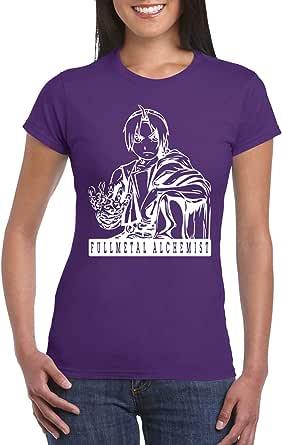 Purple Female Gildan Short Sleeve T-Shirt - Full meatal alchemist design
