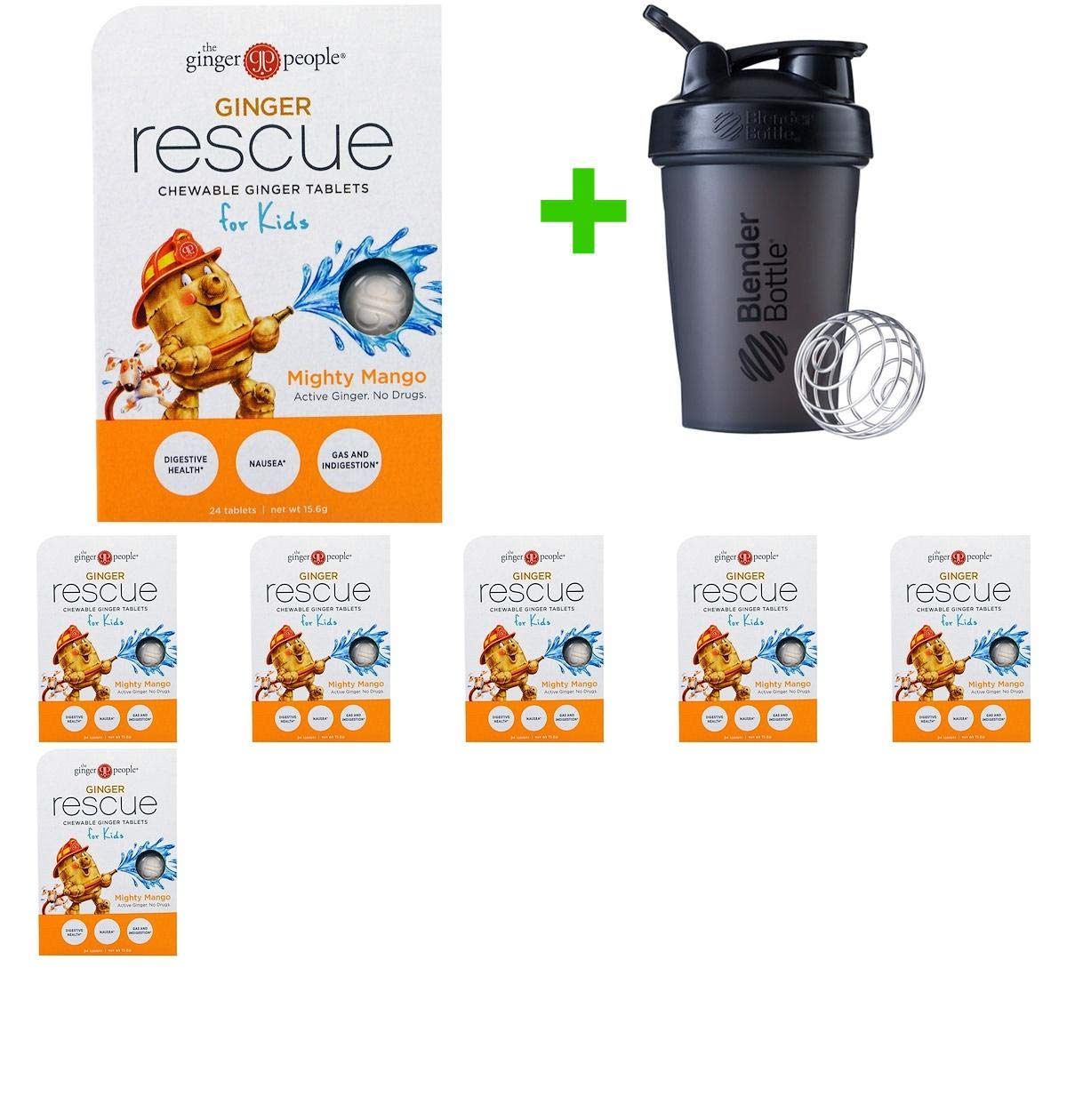 The Ginger People, Ginger Rescue, Chewable Ginger Tablets for Kids, Mighty Mango, 24 Tablets (15.6 g)(7 Packs)+ Assorted Sundesa, BlenderBottle, Classic with Loop, 20 oz