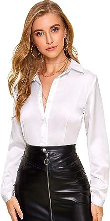 DIDK Blusa de manga larga para mujer, parte superior de satén, túnica, para oficina, elegante, con botones, camisa