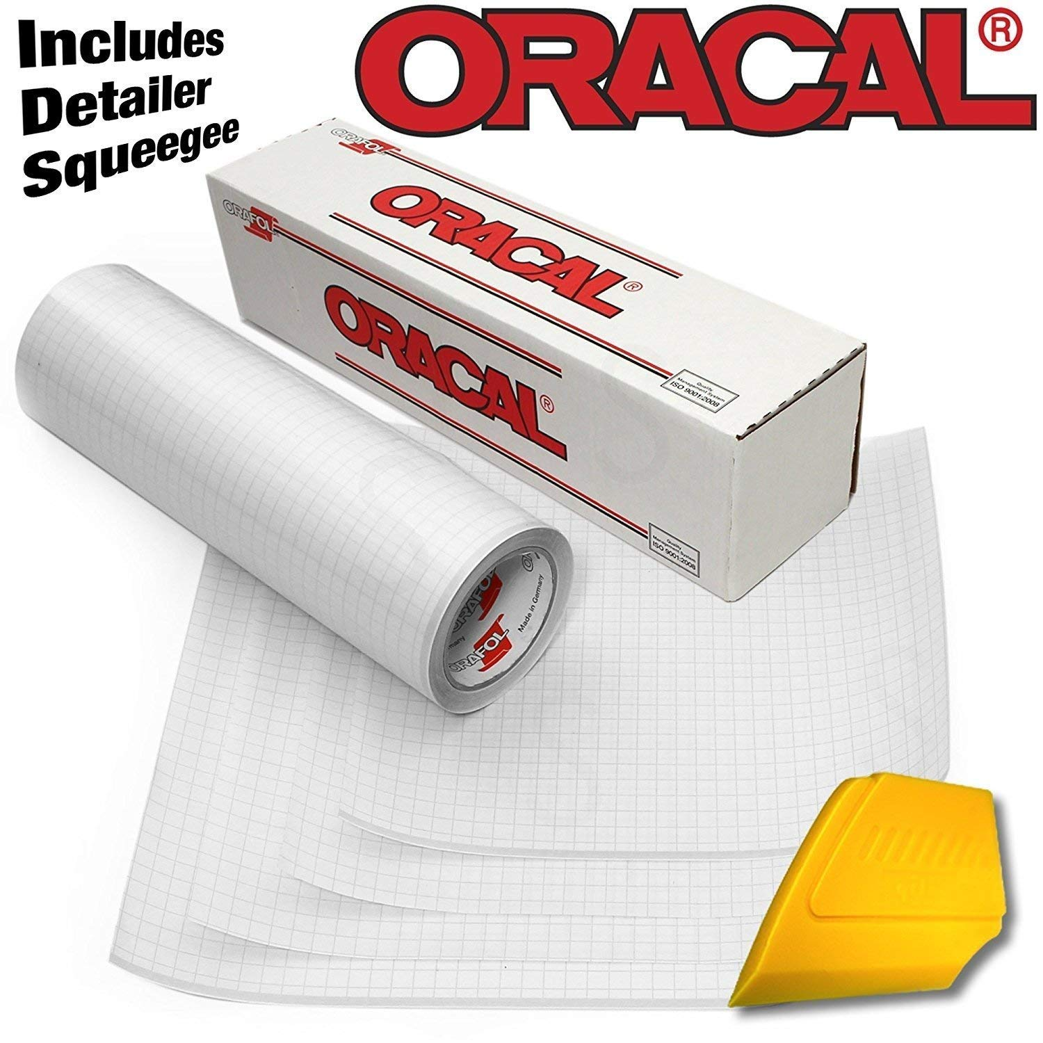 12 x 15ft ORACAL Clear Transfer Paper Tape 15ft Roll w// Hard Yellow Detailer Squeegee