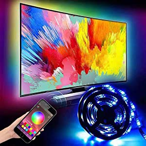 "6.5ft Backlight Light Strip Kit for 24""-60"" For TV,Mirror,PC, APP Control Sync to Music, Bias Lighting, 5050 RGB Waterproof IP65 USB LED Strip Lights Compatible with Android IOS(2019 Upgraded)"